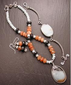 Amazonite, Orange Garnet and Black Obsidian Set