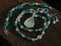 Chalcedony and Apatite Chip Necklace Set