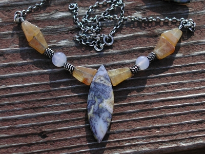 Crazy Lace, Chalcedony and Citrine Necklace