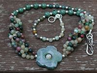 Fancy Jasper and Moss Agate Flower Necklace