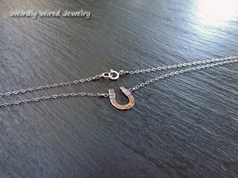 Hammered Copper Horseshoe Necklace