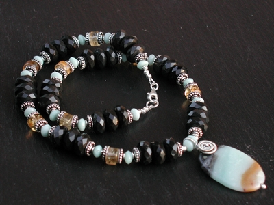 Amazonite Obsidian Necklace