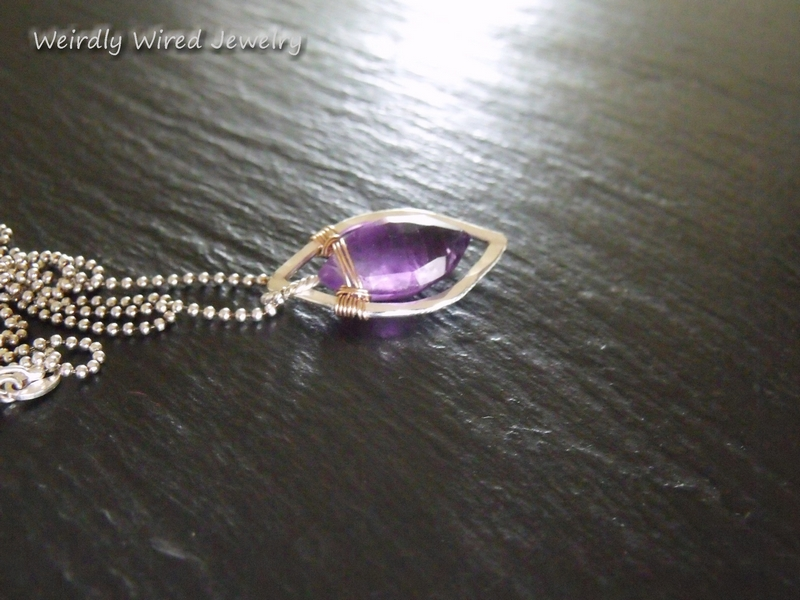 Amethyst Marquee SS & Bronze Pendant