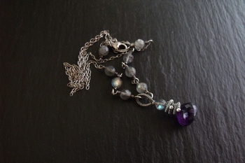 Amethyst Onion and Labradorite Necklace