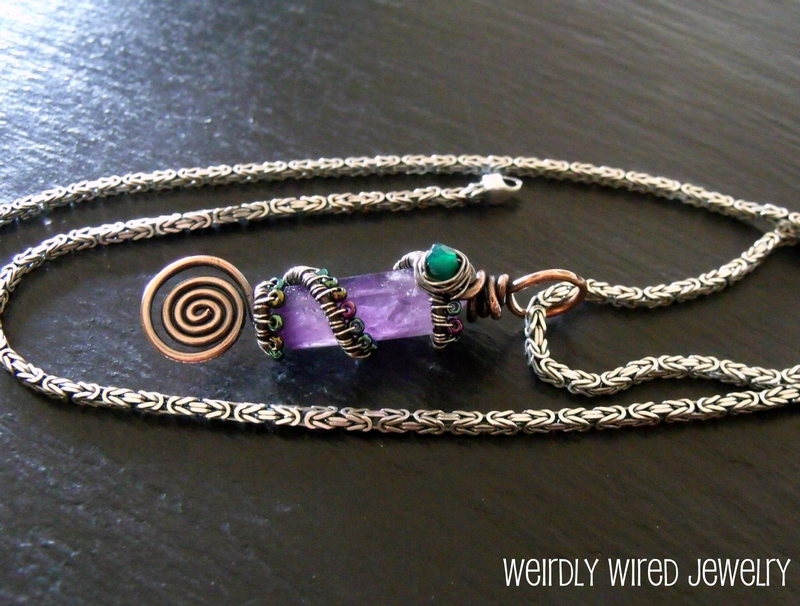 Amethyst Crystal Point Byzantine Chain