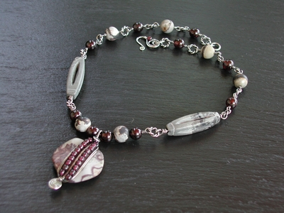 Artistic Jasper and Garnet Necklace
