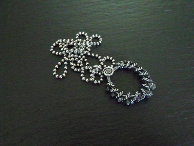 Black Diamonds and Sterling Silver Pendant