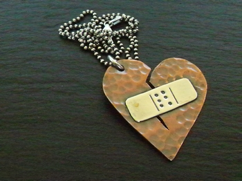 Broken Heart Band Aid Necklace 2