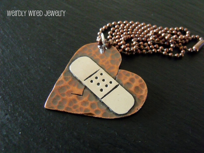Broken Heart Band Aid Necklace-Dana