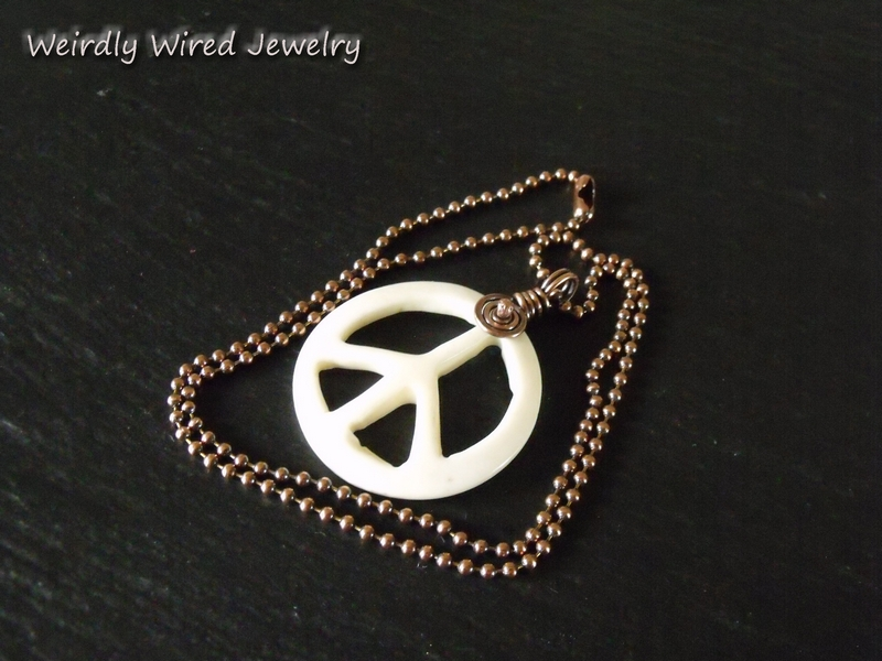 Carved Bone Peace Sign Necklace