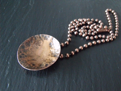 Concave Copper Disc Necklace