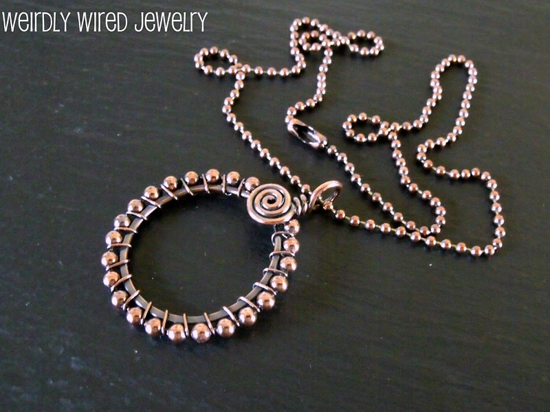 Copper Circle Ball Chain Necklace