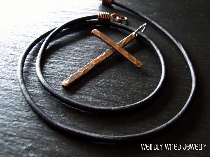 Men's Copper Cross Necklace
