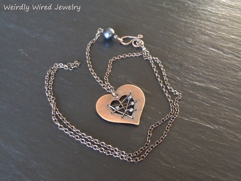 Copper Heart Blue FWP Necklace