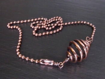 Hollow Copper Spiral Necklace