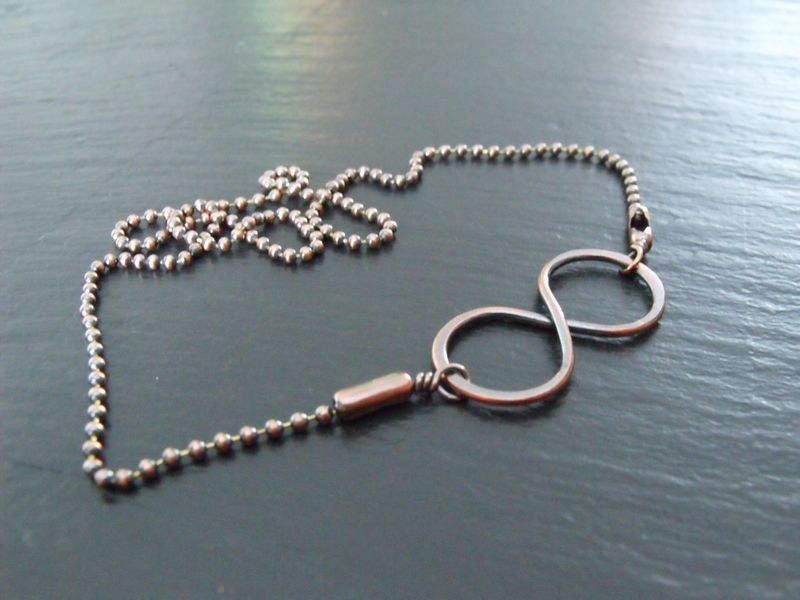 Copper Infinity Ball Chain Necklace