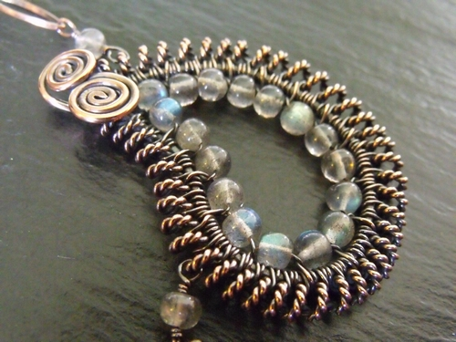 Copper and Labradorite Paisley Necklace