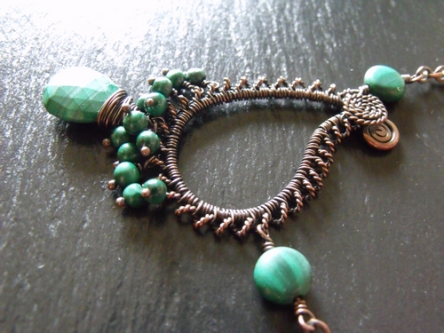 Copper and Malachite Paisley Pendant