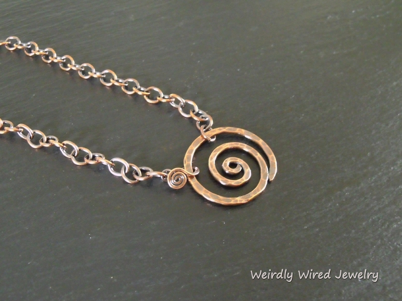 Copper Spiral front Hook Pendant