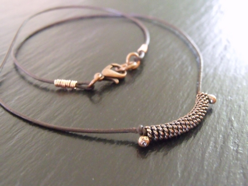 Copper Twisted Coiled Center Necklace