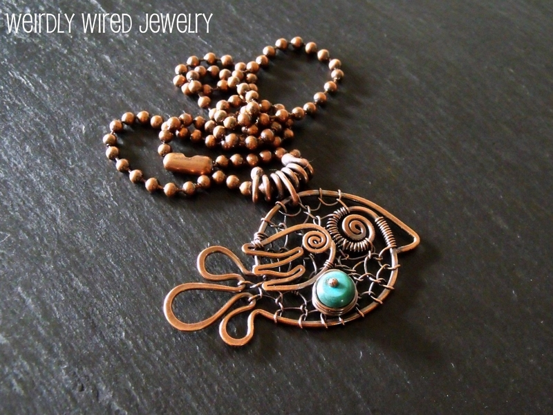 Copper Wire Chicken-Small Turquoise