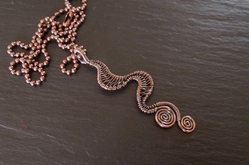 Copper Squiggle Pendant Two