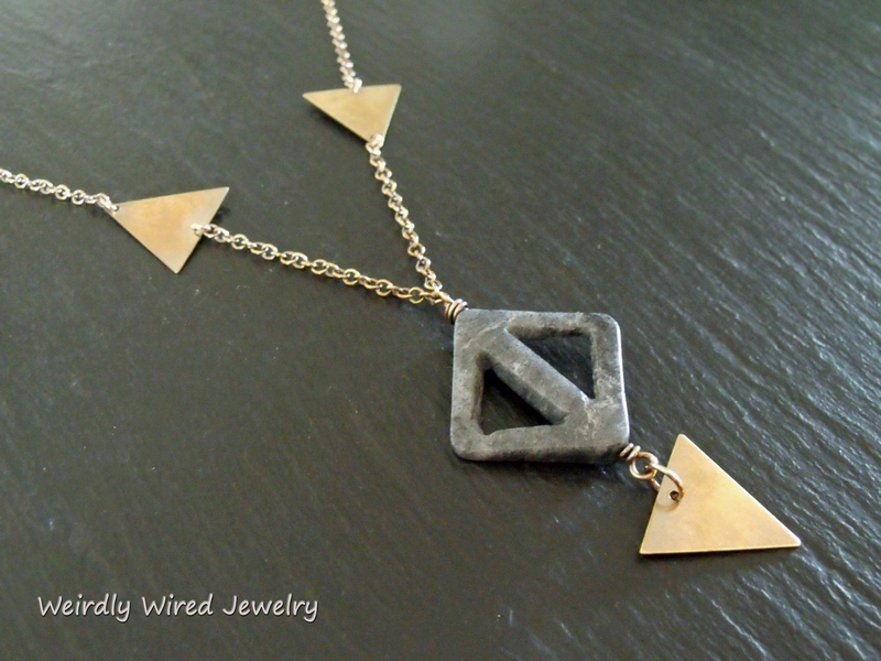 3 Brass Triangle Cut Out Jasper Necklace