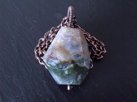 Faceted Ocean Jasper and Copper Necklace