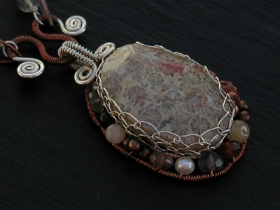 Fossilized Coral Mixed Metal Necklace