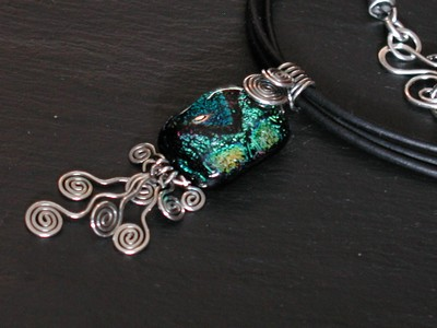 Green Dichroic Spiral Necklace