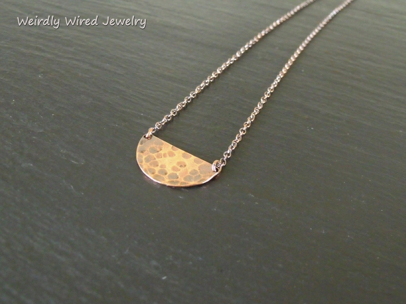 Half Copper Circle Necklace