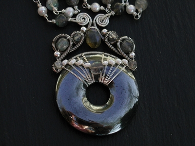 Hematite Pearl and Labradorite Necklace