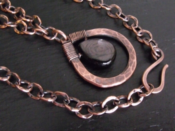Hypersthene and Hammered Copper Pendant