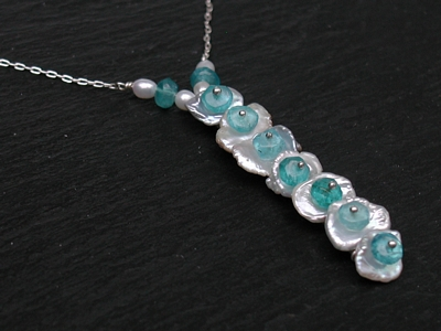 Keishi Pearl and Apatite Necklace