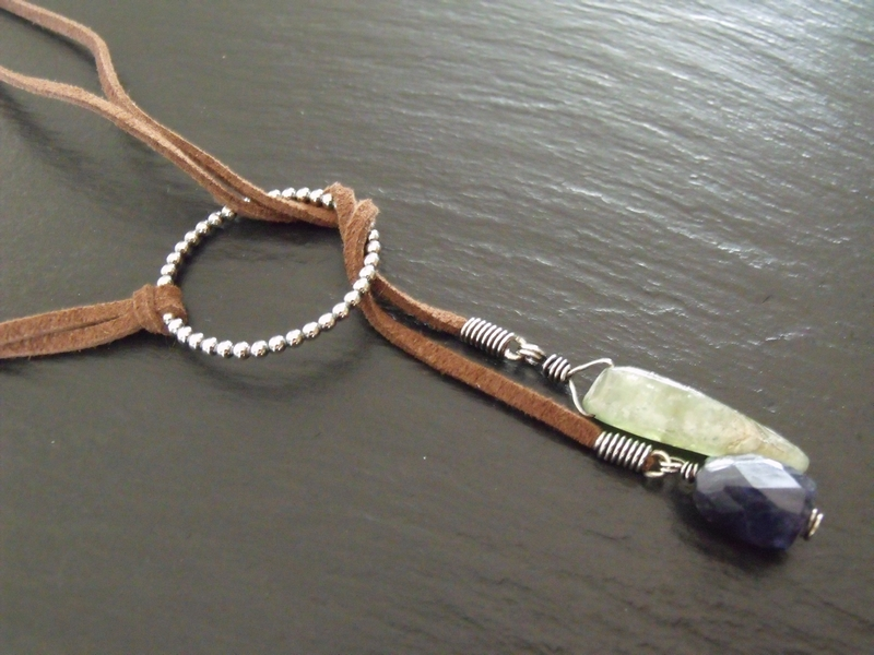 Green Kyanite and Iolite Sterling Lariat