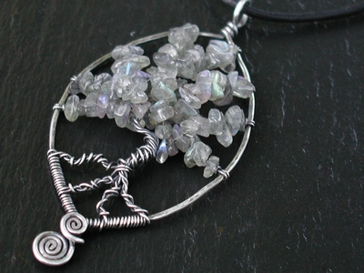Labradorite Chip Tree Pendant