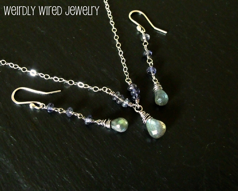 Labradorite and Iolite Wedding Set