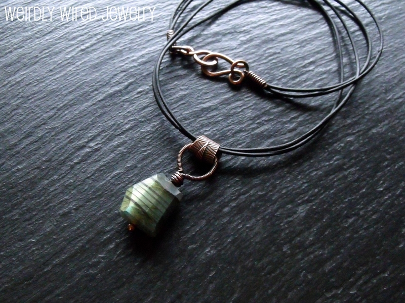 Labradorite Necklace Striped Copper