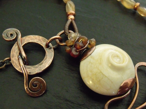 Hessonite Lampwork and Copper Necklace