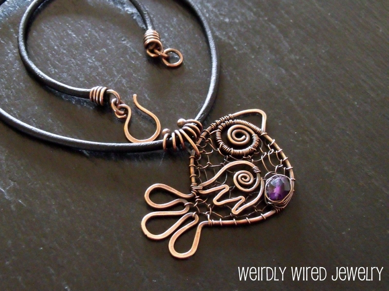 Copper Wire Chicken Pendant-Amethyst Egg