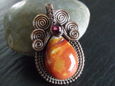 Mookite and Garnet Pendant
