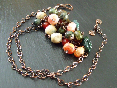 Multi-Gemstone Cluster Copper Necklace
