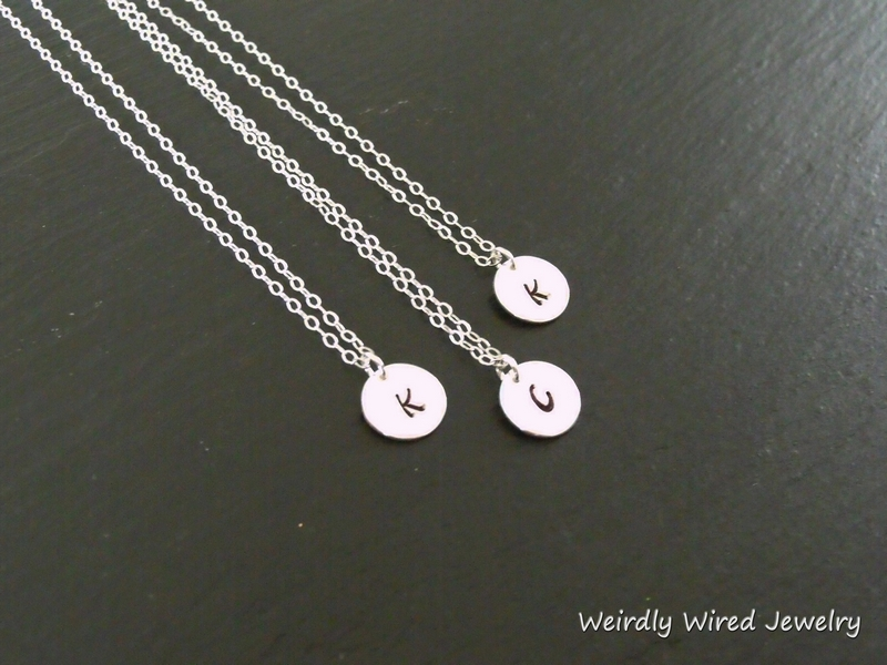 Stamped Initial Charm Necklace