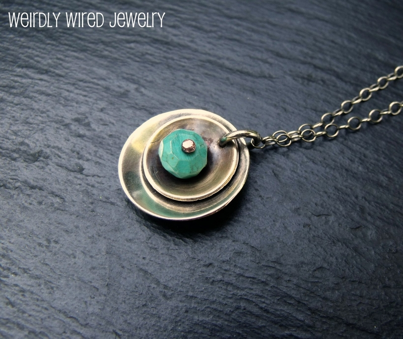 Sterling Brass Disc Turquoise Rivet