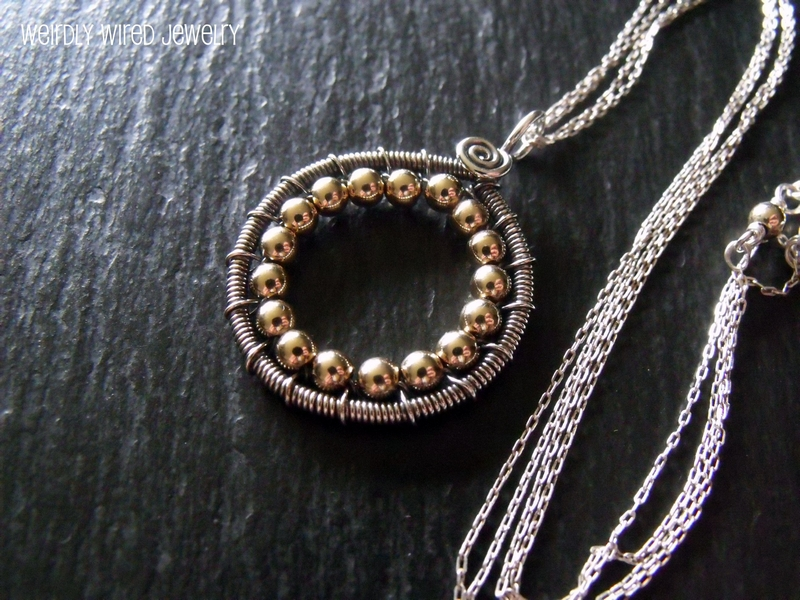 Sterling and Gold Circle Necklace