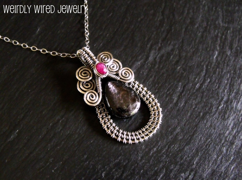 Hypersthene and Ruby Pendant