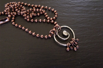 Sterling Swirl with Copper Balls Pendant
