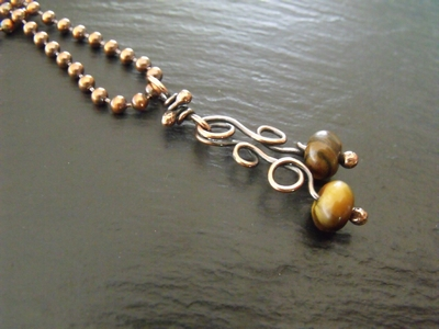 Tiger Eye and Copper Swirls Necklace