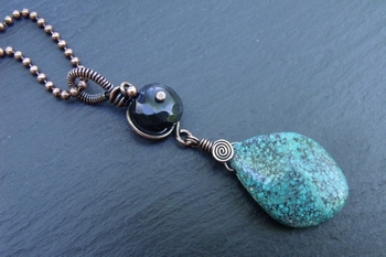 Turquoise and Black Obsidian Copper Pendant
