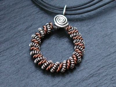Twisted Copper and Sterling Circle Necklace